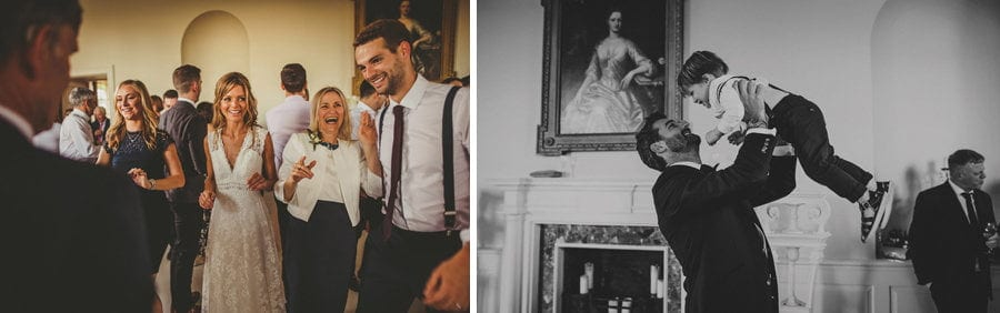 The bride and groom dance with family and friends at Stubton Hall