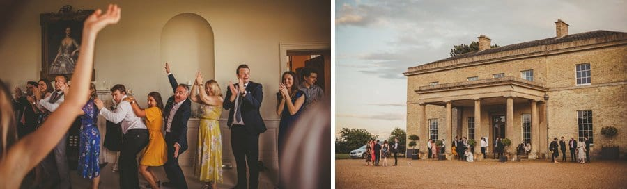Wedding guests on the dancefloor and gathering outside the main entrance at Stubton Hall
