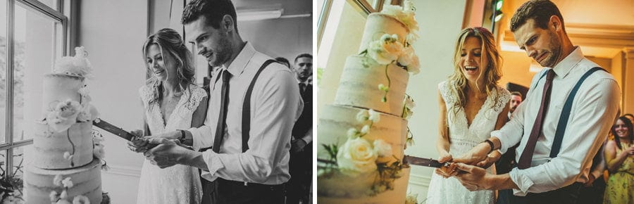 The bride and groom cut the cake together at Stubton Hall