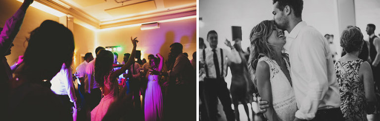The groom kisses the bride on the forehead on the dancefloor at Stubton Hall