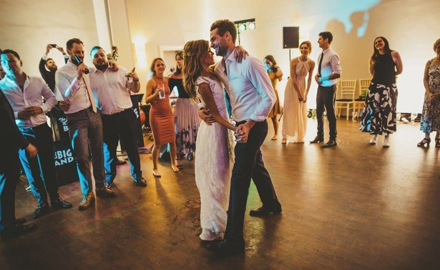 The bride and groom together on the dancefloor