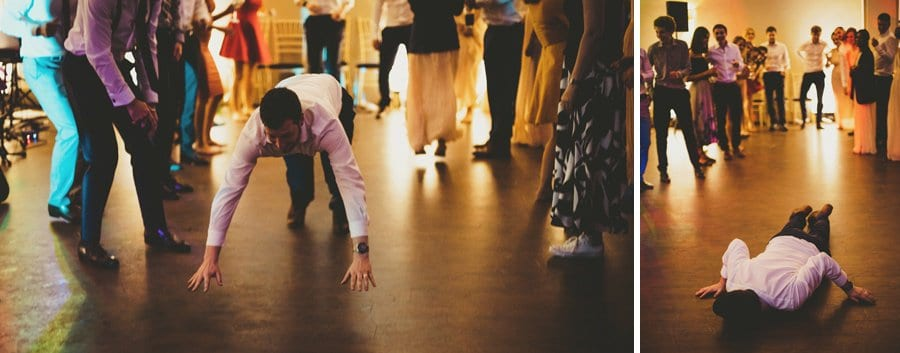 An usher throws himself onto the dancefloor