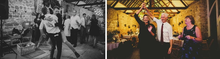 Wedding guests on the dancefloor at the Tithe Barn, Symondsbury