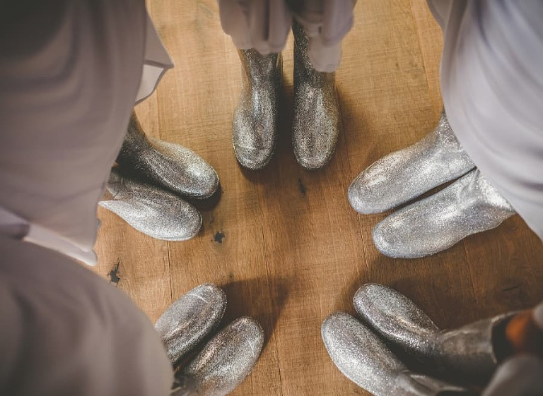 The ladies puts their silvers wellies together