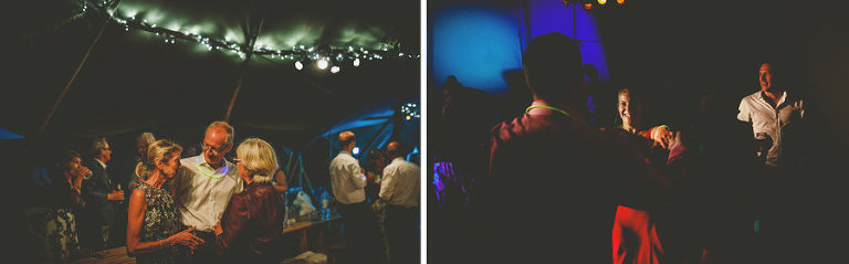 Wedding guests in the tipi chat amongst themselves