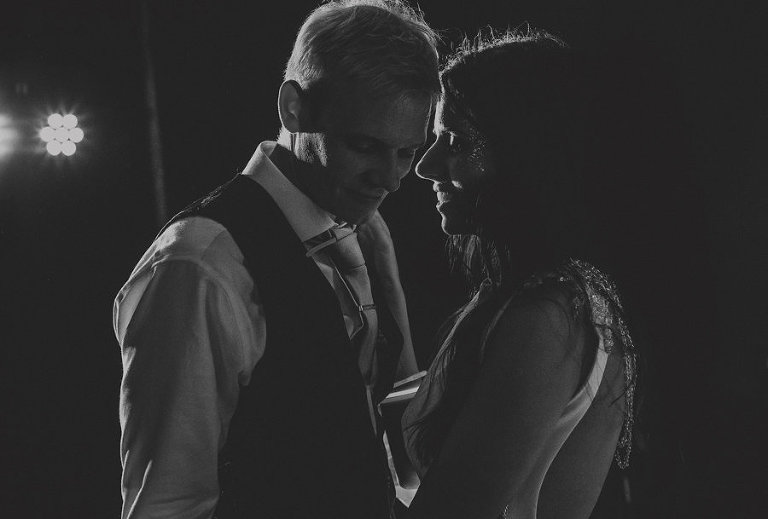 The bride and groom alone on the dancefloor together