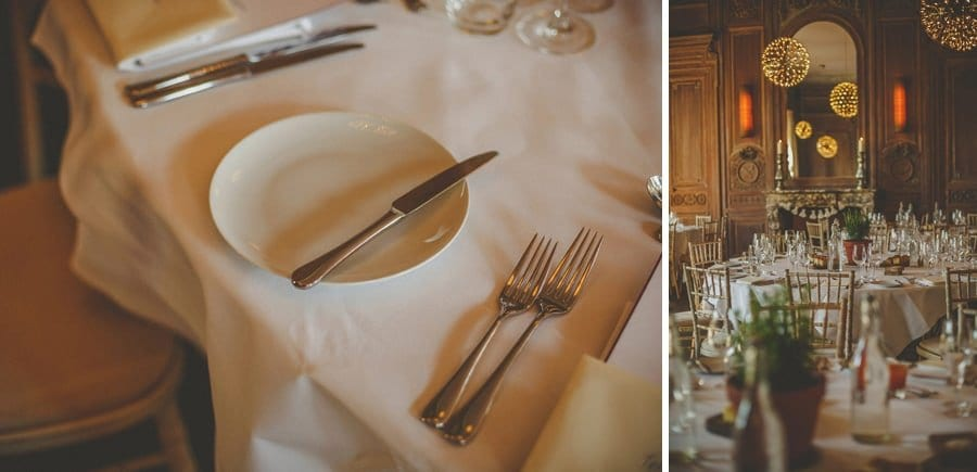 A knife on top of a plate on the wedding table aat Cowley Manor Hotel