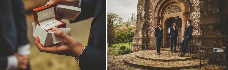 An usher opens a small box with wedding rings in it and ushers wait outside the church