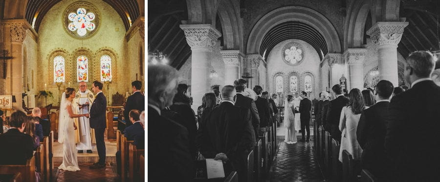 The bride and groom stand and face each other in the Church during the wedding ceremony