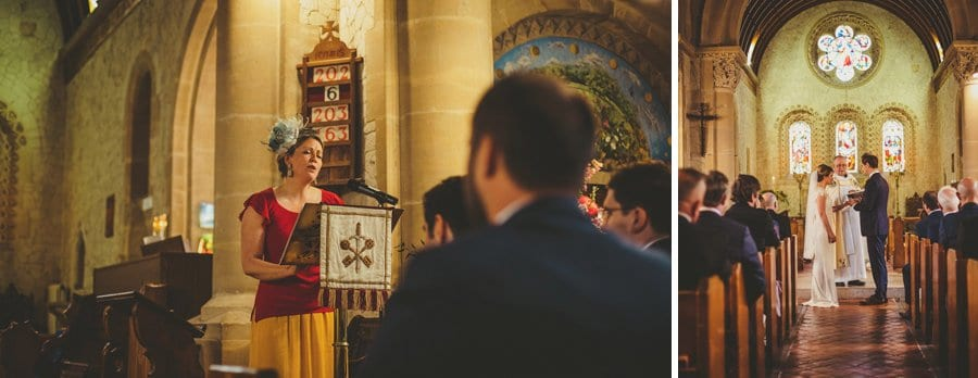 A wedding guest stands up and reads a poem in the Church during the wedding ceremony