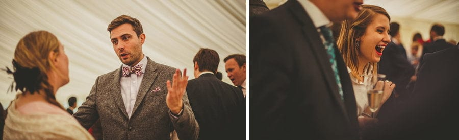 Wedding guests in the marquee