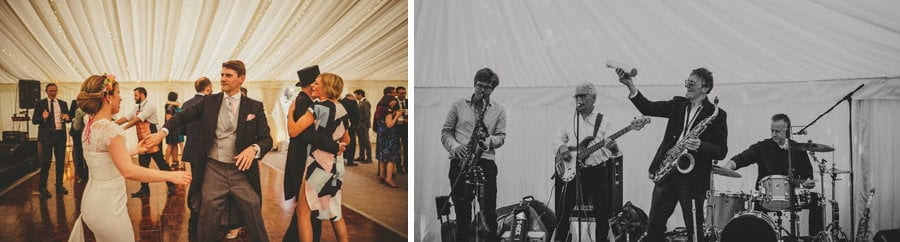 The wedding band perform as wedding guests dance