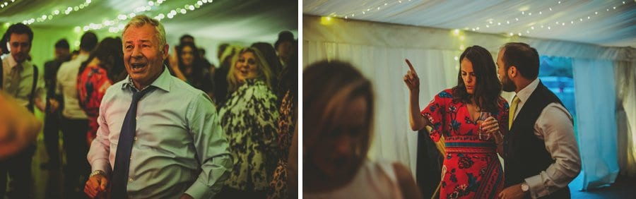 Wedding guests dancing in the marquee