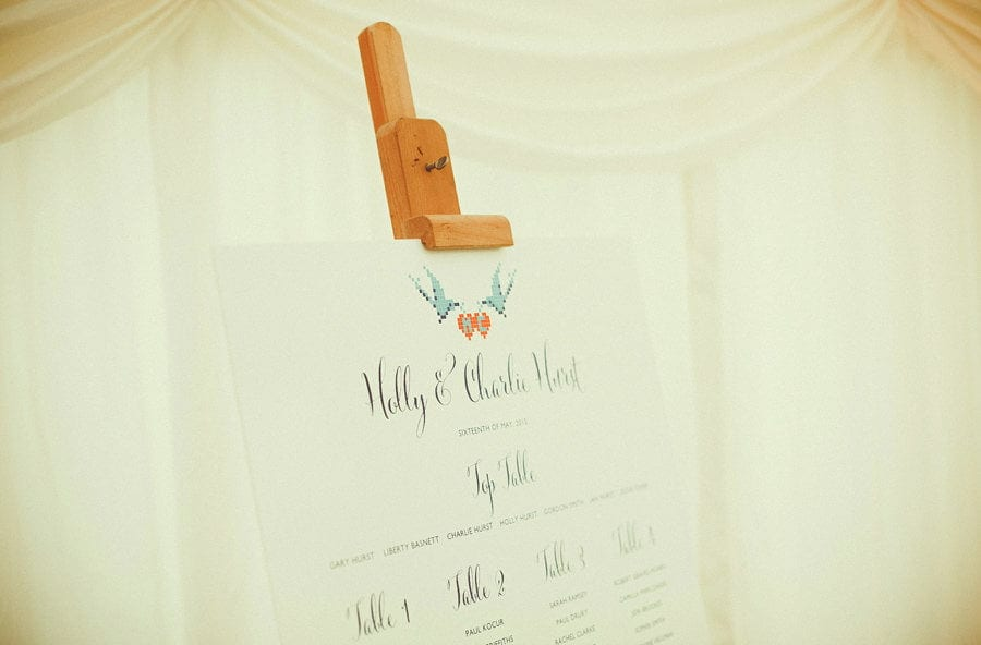 The table plan for the wedding in the marquee