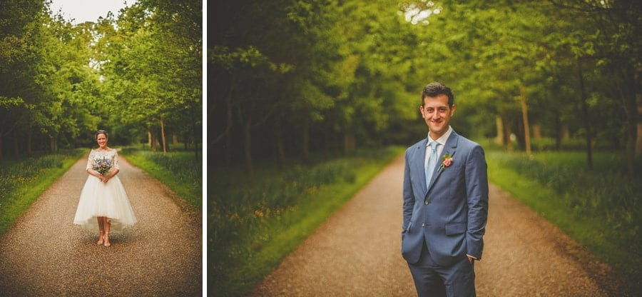 The bride and groom in the garden of Longstowe Hall