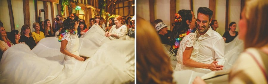 The bride and groom dancing in the barn at Micklefield Hall