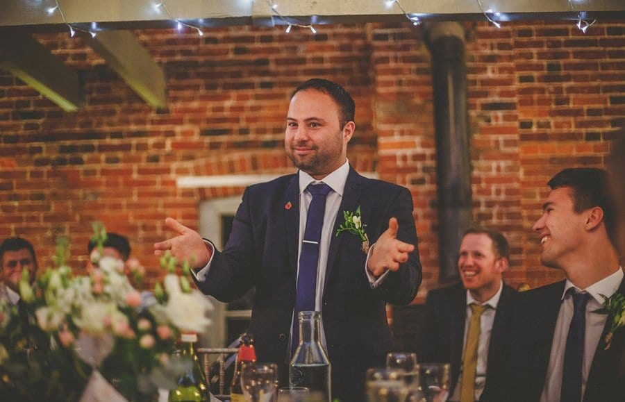 The best man delivers his wedding speech at Sopley Mill