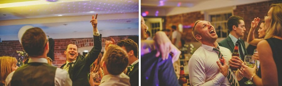 Wedding guests dancing at Sopley Mill