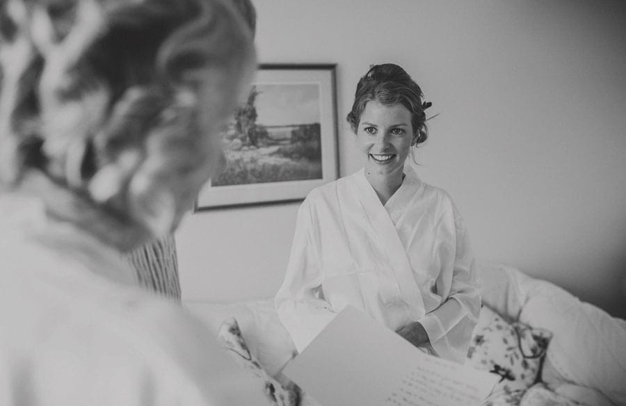 The bride smiles at her mother