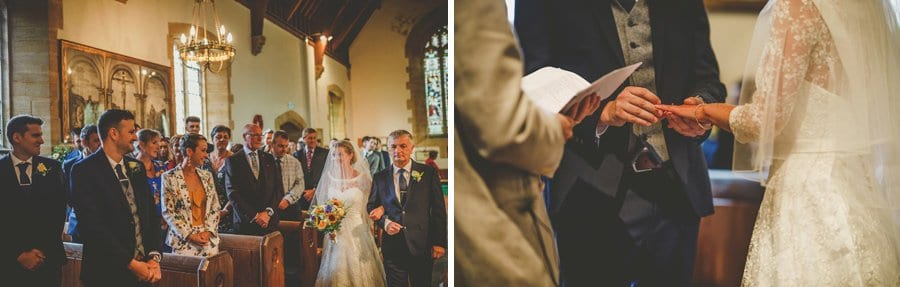 The bride walks down the aisle of the church and greets the groom