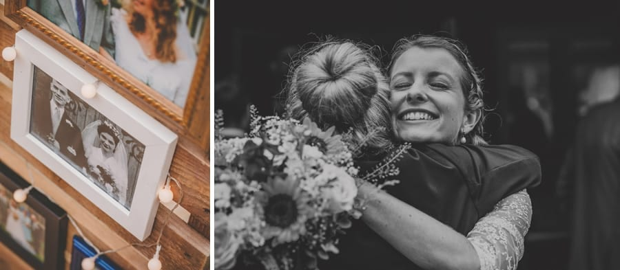 The bride embraces her friend at Yarlington barn in Somerset