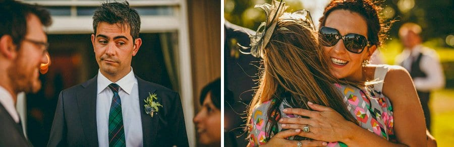 The bride hugs her friend