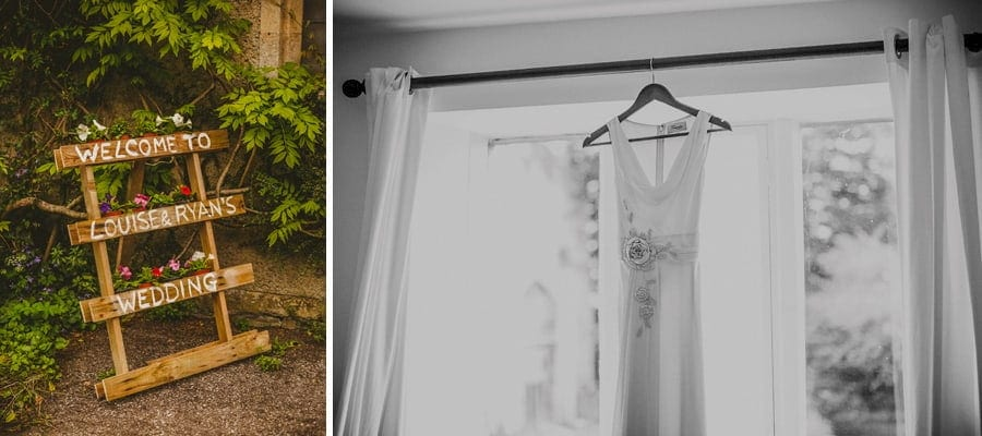 The brides dress hangs from the curtain rail in the brides bedroom