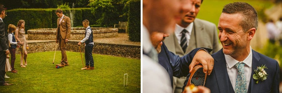 Wedding guests play croquet on the lawn at the front of Voewood house