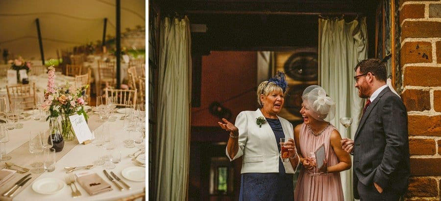 The bride and grooms family chat to each other at Voewood House