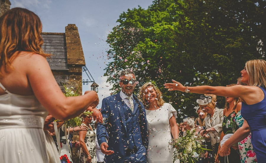 Confetti throwing outside the Church at Othery in Somerset
