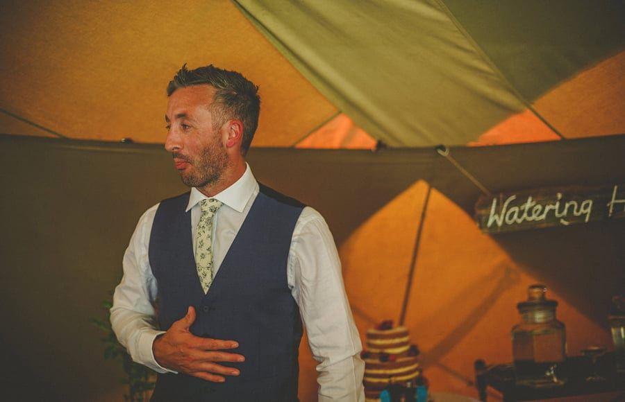 Wedding guests raise their glasses in the tipi