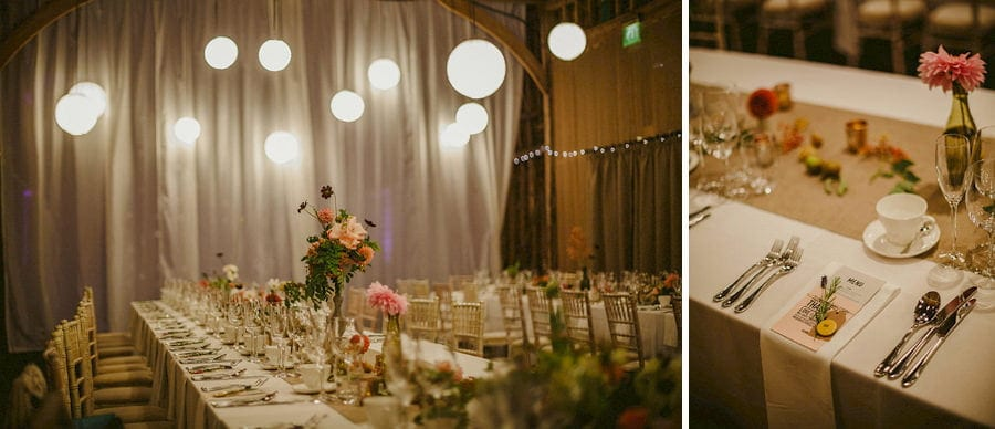The wedding table on the old barn at Childerley Estate