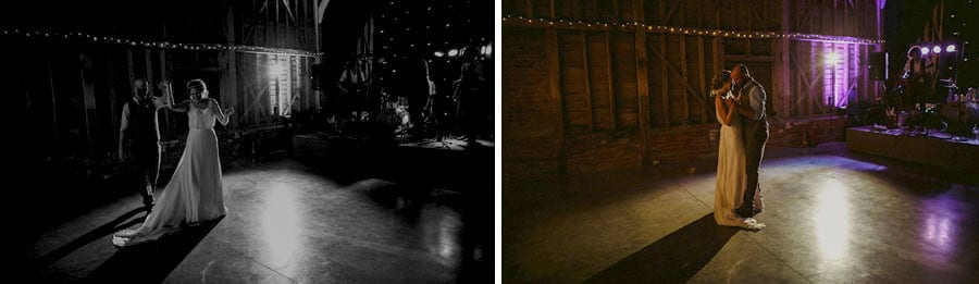 The bride and groom dance with each other in the old barn