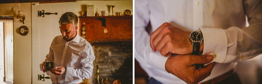 The groom puts his watch on
