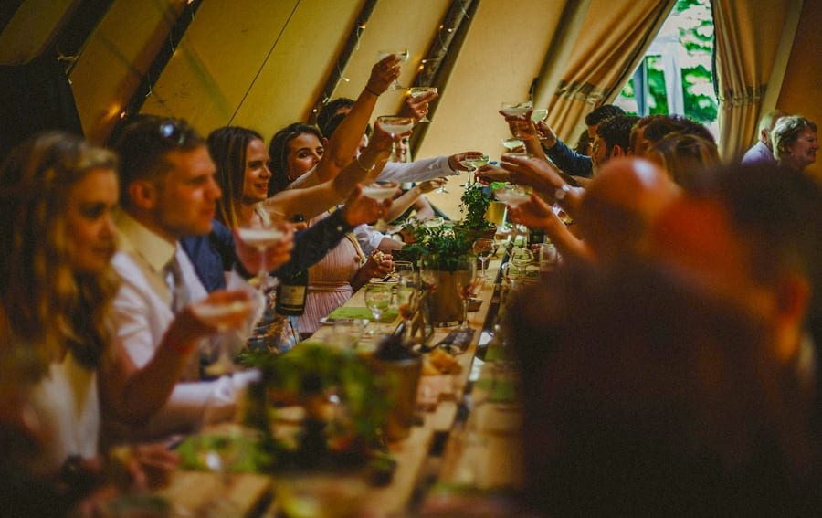Wedding guests raise a toast to the bride and groom