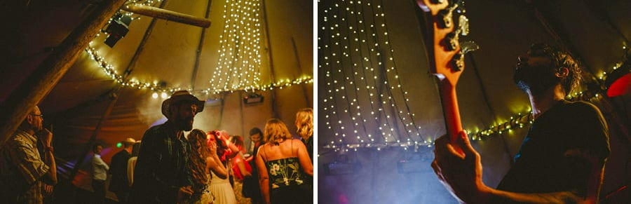 Wedding guests in the tipi
