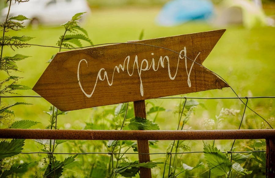 The wooden camping sign at Fernhill Farm