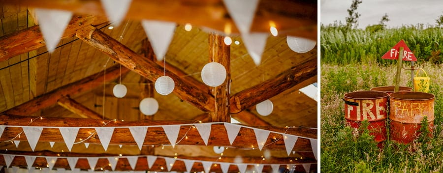 Paper lanterns hang from the ceiling in the barn at Fernhill Farm