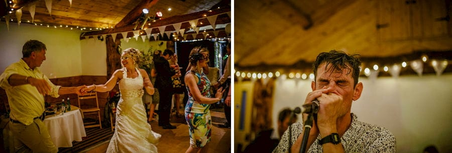 The bride dances with her father on the dancefloor in the barn at Fernhill Farm