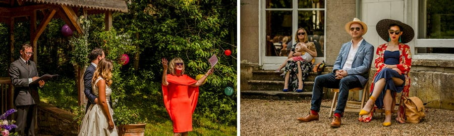 A wedding guest delivers her speech during the outdoor ceremony at Pennard house, Somerset