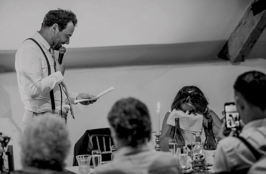 The groom makes his new wife cry during his emotional speech